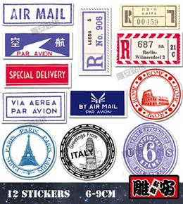 Z042 retro sticker rimowa luggage nostalgia sticker postmark country stickers suitcase stickers