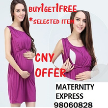 CNY BUY1GET1FREE FOR SELECTED ITEM♥MATERNIY EXPRESS♥ MATERNITY DRESS NURSING DRESS