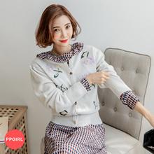 PPGIRL_C845 u are flower cardigan / knit cardigan / basic / embroidery / long sleeve