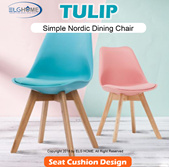 【TULIP】Simple Nordic Style Dining Chair With Cushion//Study Chair/Computer Chair/Office Chai