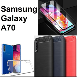 Samsung Galaxy A70 Matte Armour Transparent Phone Case Casing Cover Tempered Glass Screen Protector