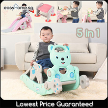 5 in 1 Rocking Bear Slide/ Multifunctional Toy kids Children/ Basketball Hoop Game Stool Chair