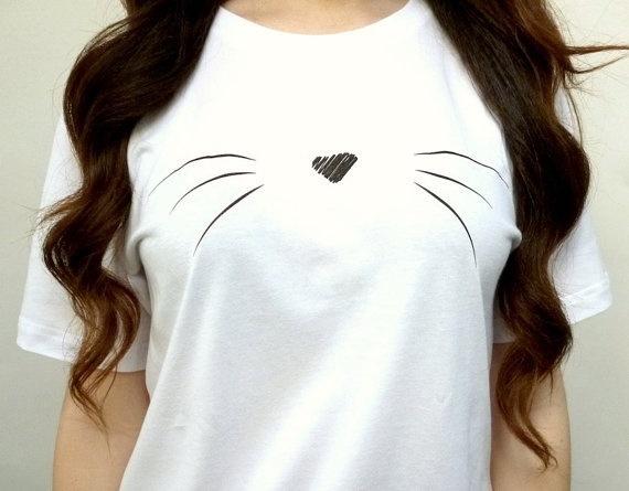 かわいい猫ウィスカーシャツ女性ヒップスタースタイルファッションTumblr半袖Teeシャツ