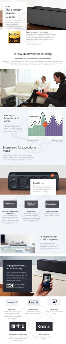 Sony SONY Wireless Speaker with Wi-Fi∝/Bluetooth∝ SRS-X99 / Hi-Res AUDIO / High Quality LDAC / Bluet