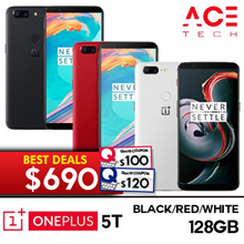 $690 Nett. Oneplus 5T / 128GB ROM + 8GB RAM / Red/ White / Export Set with 6 store mths Warranty