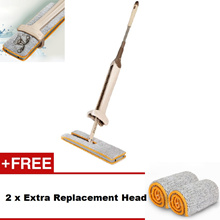 38cm Double Sided Hands Free Wash Self-Wringing Microfiber Lazy Flat Floor Mop