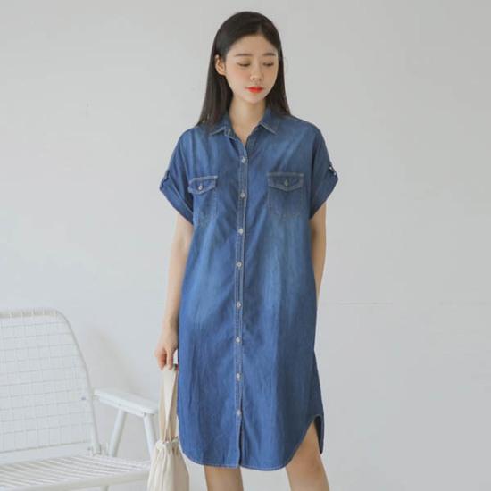 ジャストウォングリーンウォッシングトンオプのデニムワンピース 綿ワンピース/ 韓国ファッション