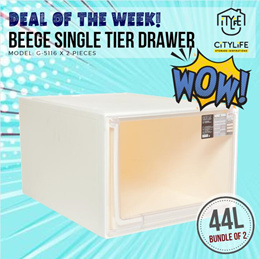 [BUNDLE OF 2] Citylife Beege Single Tier Modular Drawer - 44L