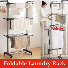 Laundry Drying Rack/ Clothes Rack/ Hanger/ Rack/ Wheels/ Steel/ Foldable rack