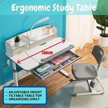 Ergonomic Kids / Children Study Table / Desk Adjustable height / Tiltable Table Top Storage Shelf