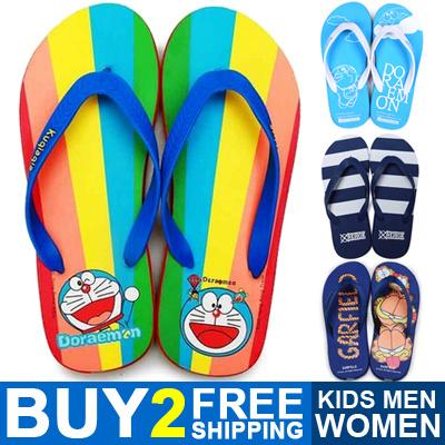 6606c202aead46 Buy 2 Free Shipping 2019 New Women Kids Men Slippers Cute Cartoon Flip Flops  Plus Size