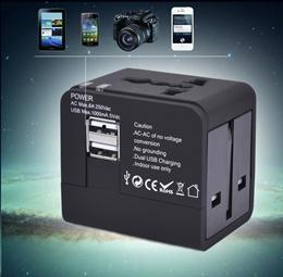 Universal Travel Adaptor black USB power plug quick charger adapter