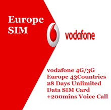 [Europe SIM Card 28 days] vodafone 43 countries 4G 1GB +Unlimited data +200mins Voice Calls