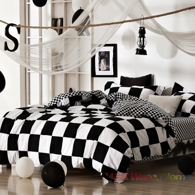qoo10 black white plaid design 4 pcs bedding set bed