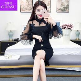 The ancient Korean Muni 2017 autumn fashion trouser sexy female small gauze coat color mosaic flower