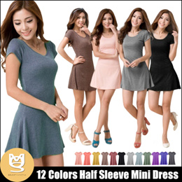 HALF SLEEVE MINI DRESS HIGH COTTON IN 12 PASTEL COLORS / SG Delivery Free Shipping!
