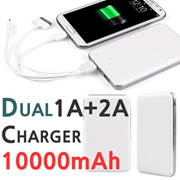 Portable USB Dual 1A + 2A Charger Large 10000mAh Powerbank/USB Help Battery/Various Smart Phone Connected/Spare Battery iPhone Samsung Note Power Bank/iPad tablet PC Charge