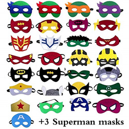 Superhero Mask - 32 (29 + 3 Superman Masks), Gifts for Kids, Childrens Birthday Party Supplies