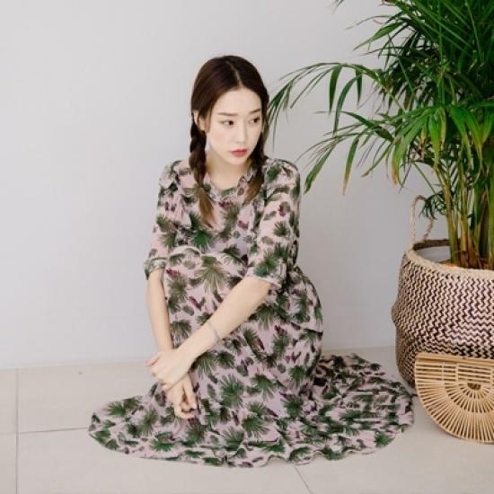 ホワイト・フォックスボタンポイント腰バンディングシフォンワンピース シフォン/レースのワンピース/ 韓国ファッション