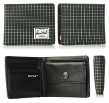 AUTHENTIC Herschel Supply Co. Mens Hank wallet with Coin pocket/pouch RFID blocking Black Grid