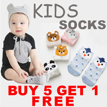 !! Buy 5 Free 1 Promotion !! - Cute Anti-Slip Socks for Baby/Kid - Mommy Size Available