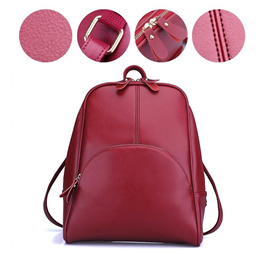 Cowhide Leather Women Casual Backpack Lady Bagpack Travel Beg Bags