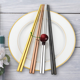 [SG SELLER] 5/10 Pairs High Quality Stainless Steel Korean Square Chopsticks. Exquisite tableware