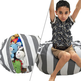 Extra Large Premium Cotton Canvas Stuffed Toys Storage Bean Bag
