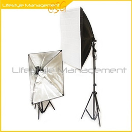2 Sets Continuous Studio Softbox Lighting Kit with Carrying Case Light Stand Soft Box Photography