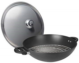 [Home] ASD HP2540 IH - N Hard Anodised Induction Wok with Stainless Steel Cover with Steaming Rack,