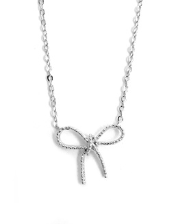 Tie Me Up! (Silver): Non-removable Ribbon Pendant with Non-adjustable Short Necklace from South Korea