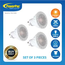 PowerPac 3pcs x LED Halogen Bulbs 5W GU10 - Warm White (PP6315WW)