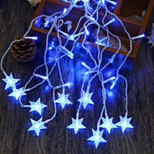 AC 110 - 220V 4M DROOP 0.6M STAR STRING FAIRY LIGHT CURTAIN ICICLE DECORATIVE LAMP (BLUE)
