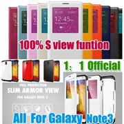 Hot selling! For Galaxy Note 3 1: 1 offical S view cover SGP SPIGEN Slim Armor S View Automatic Slee..