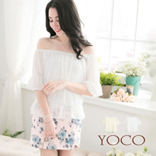 YOCO - Off Shoulder Top with Flared Sleeves-6011283
