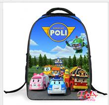 2015 new students Robocar Poli double backpack childrens cartoon schoolbag