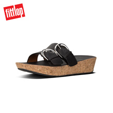 FITFLOP DUO-BUCKLE SLIDE - LEATHER BLACK ★100% Authentic★