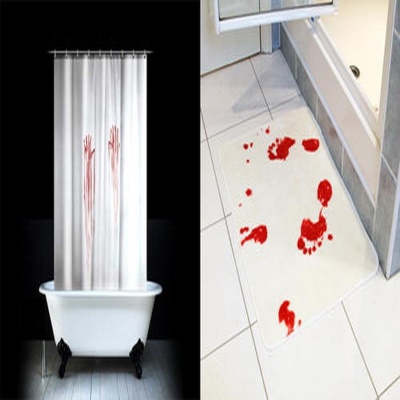 Bloody Bath Shower Curtain And Mat Set Suit