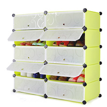 Multi-function Shoes Cabinet 5 Layers 10 Cubes Stackable Shoes Rack Wardrobe