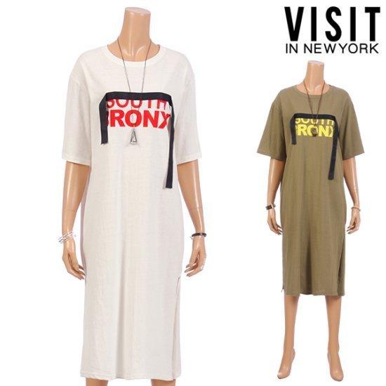 ・ビジット・インニューヨークダークスモッグティーシャツ、ワンピースVTEOP31 面ワンピース/ 韓国ファッション