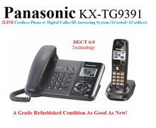 2LINE !(Refurbished)Panasonic KX-TG9391T-R DECT 6.0  2-Line Cordless Phone w/ Digital Caller ID Answ