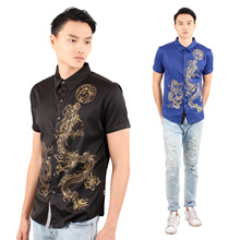 【2018 PROMO】Men Fashion Traditional Shirt Golden Dragon Printed Men Shirt/Male Short Sleeve Shirt [M18140]