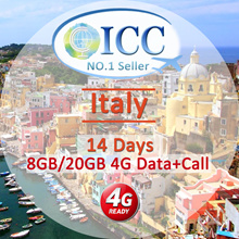 ◆ ICC◆【Italy Sim Card· 15/30Days】❤ 4G LTE/3G + Unlimited data( PackageA)❤ Data+ Call for B/C/D Plan