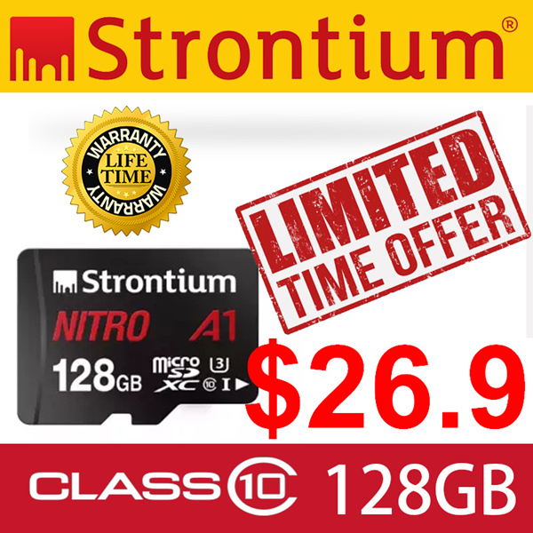Up to 100MB/s Strontium 128GB Nitro A1 MicroSD Card with Adapter Lifetime Local Warranty Deals for only S$100 instead of S$100