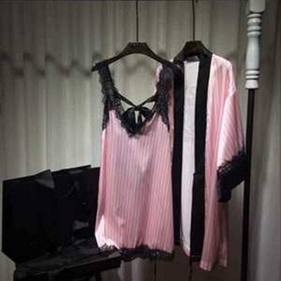 2018 Spring Summer Sexy Striped Pink Pajamas Nightdress Women s Imitation  Silk Bathrobe Drilling d7153bd68