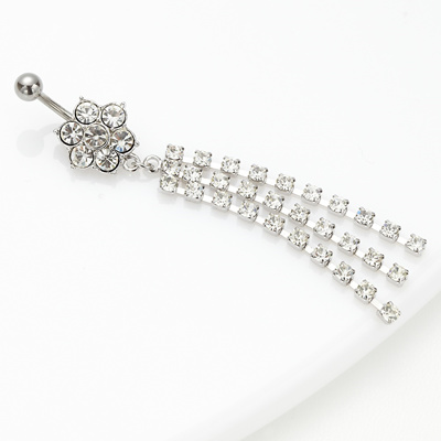 Swarovski Chain Swaying Flower Motif Navel Piercing 14g Surgical Stainless Steel 316l Low Metal Allergy 3 Flowers Lane Body Piercing For Gorgeous