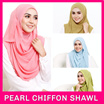 [ READY STOCK ] [LOCAL SELLER] High Quality Pearl Chiffon Long Wide And Instant Shawl / Tudung / Muslimah Hijab