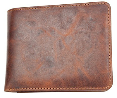 c8134f7f038c FLW Mens Compact Sized Natural Strong Genuine Leather Wallet