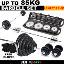 ★Gym Quality Barbell Dumbbell Rubberised Set ★Up to 85KG ★ Premium Quality ★ Tri-Grip ★ Fitness