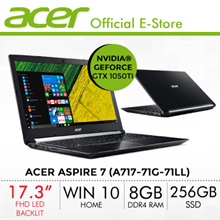 Acer Aspire 7 (A717-71G-71LL) Laptop - 17.3 Inch FHD IPS  LED backlit TFT LCD with NVIDIA GTX 1050Ti